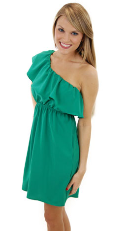 Classic 1 Shoulder Dress, Green