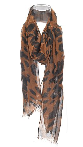 Chocolate Leopard Scarf