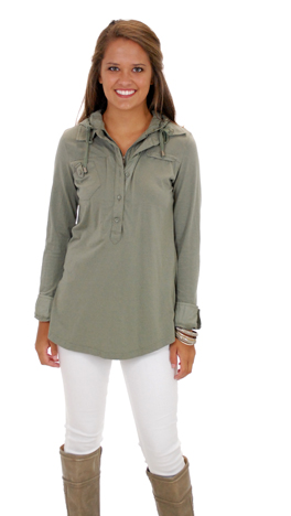 Girls in the Hood Top, Olive