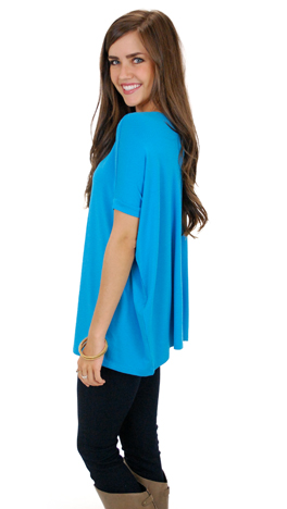 Outside the Box SS Top, Bright Blue