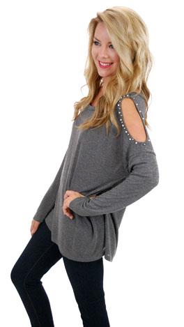 Cold Shoulder Sweatshirt, Gray