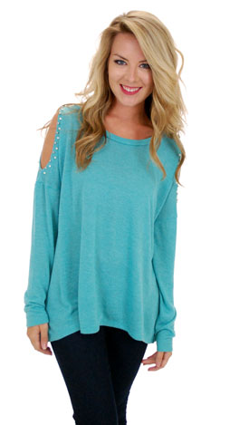 Cold Shoulder Sweatshirt, Jade