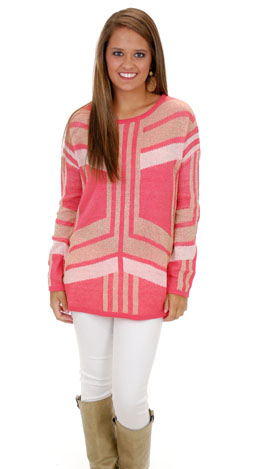 Gold Hearted Sweater, Coral