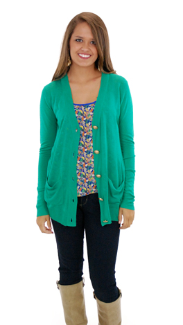 Time Marches on Cardigan, Green