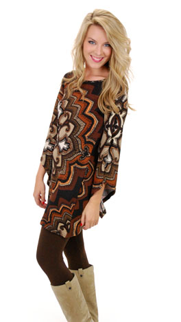 Kaleidoscope Dress, Brown Knit