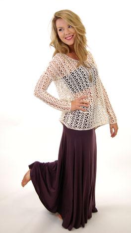 Solid Maxi Skirt, Purple