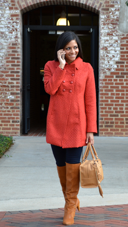 Basketweave Coat, Paprika