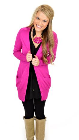 Hot Pink V-Neck Cardigan