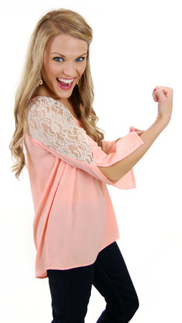 Graced with Lace Top, Peach