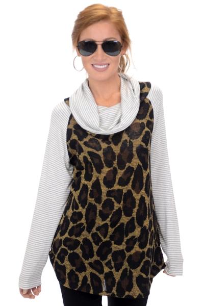 Cheetah Cowl Neck