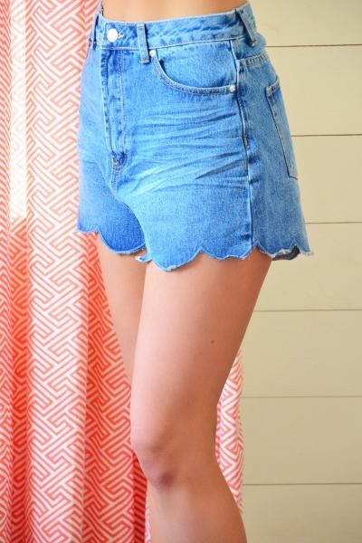 Scalloped Denim Shorts