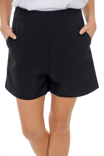 Side Zip Shorts, Black