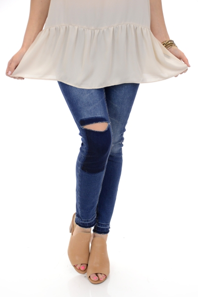 Krista Patch Knee Jeans