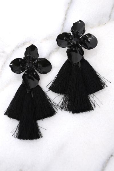 Blooming Tassel Earring, Black