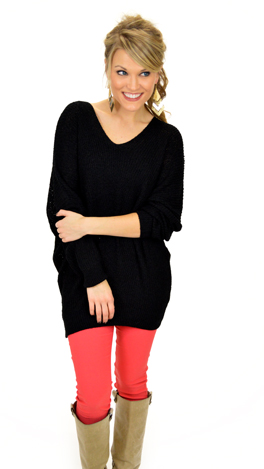 Slouchy V Sweater, Black