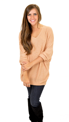 Slouchy V Sweater, Nude