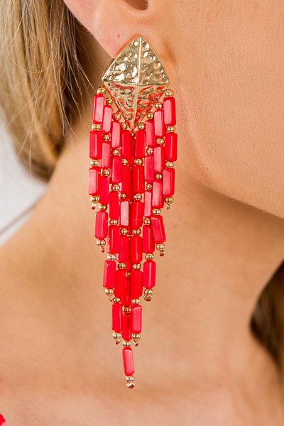 Boho Beads Tassel Earring, Red