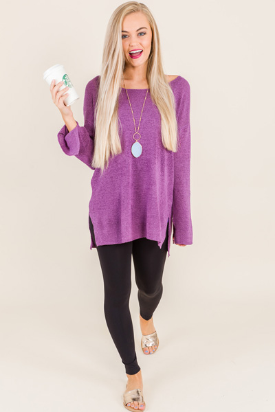 Boat Neck Sweater, Purple