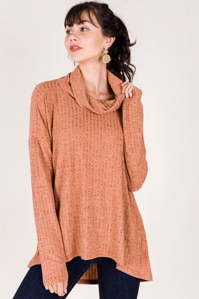 Chris Ribbed Cowl Neck, Rust