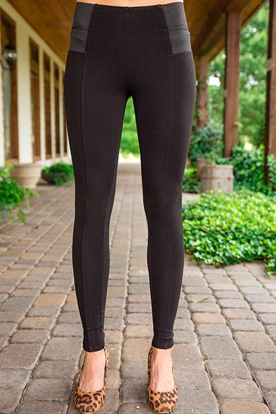 Lena Ponte Knit Legging, Black