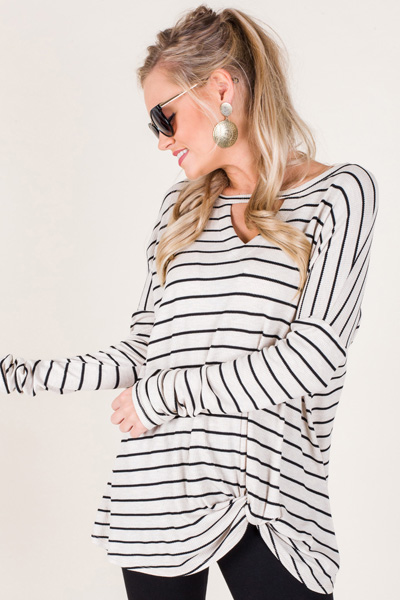 Stripe Twist Tunic, Oatmeal