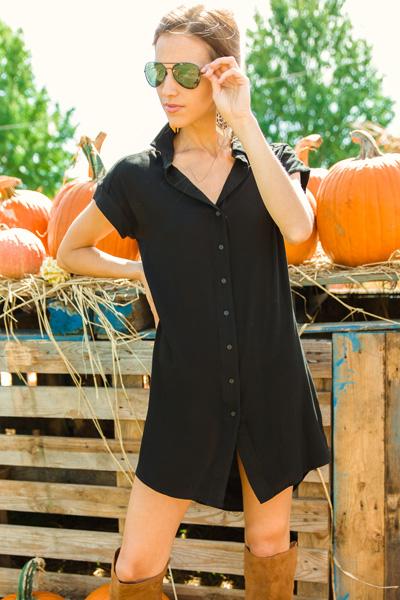 Classic Button Dress, Black