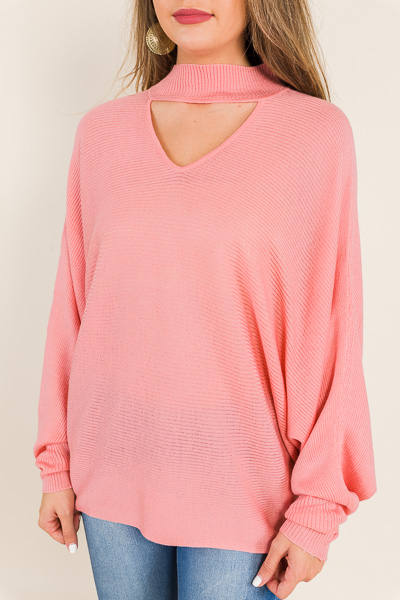 Clea Choker Sweater, Rose