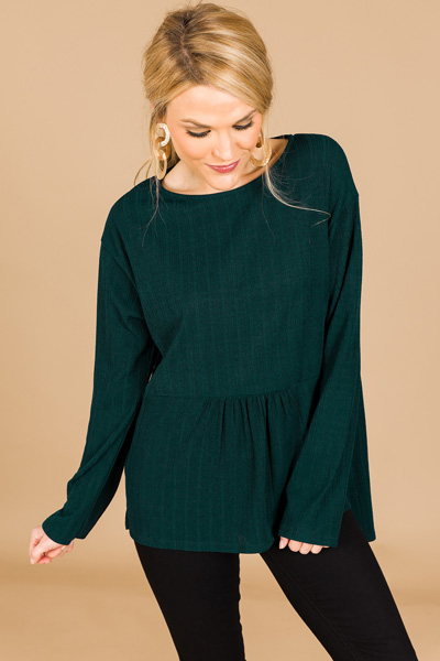 Tiered Hem Top, Emerald
