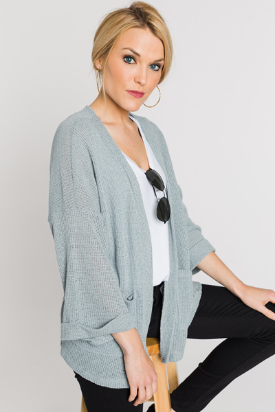 Knit Boyfriend Cardi, Dusty Blu