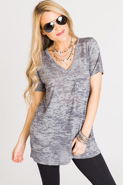 Marble Knit V Tee, Charcoal