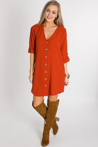 Buttoned V Dress, Rust