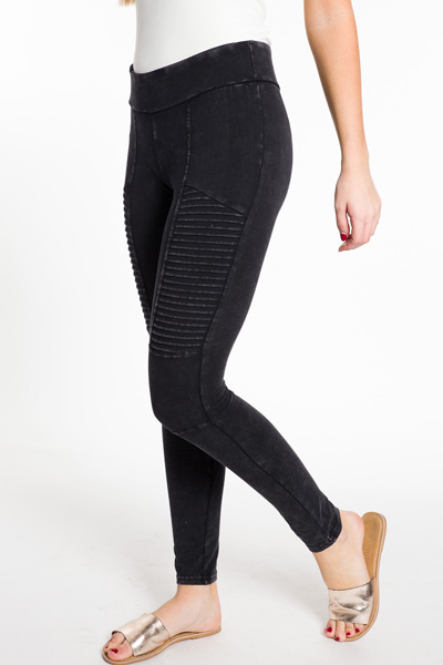 Moto Mama Leggings, Black