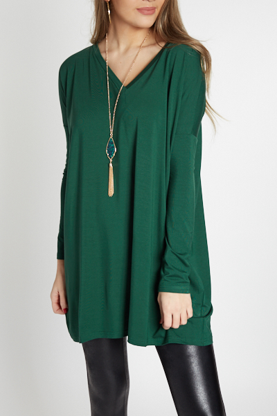 Piko Boxy V Tunic, Forest Green