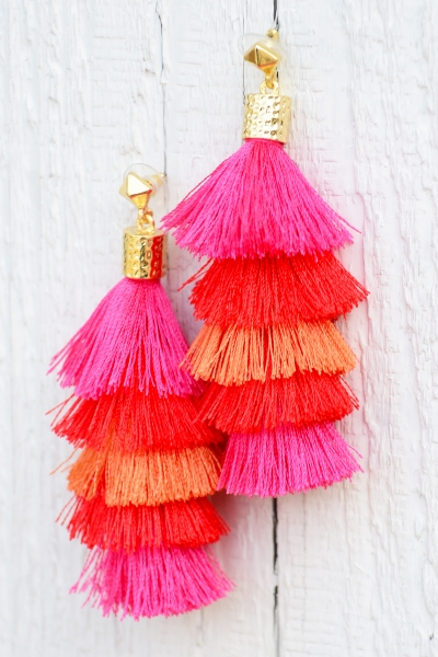 Tiered Tassel Earrings, Pink