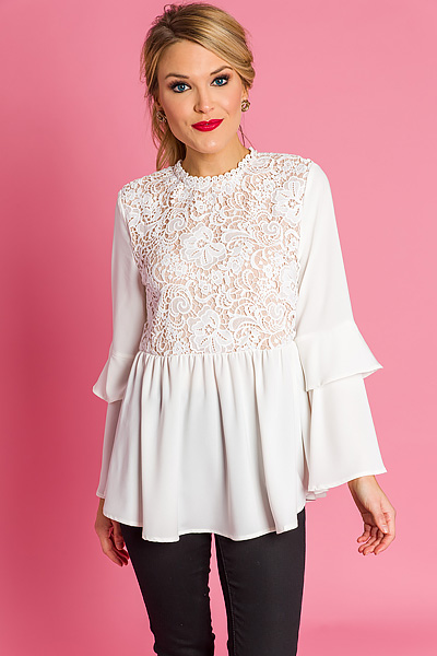 Lust for Lace Peplum, Ivory