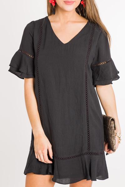 Hopscotch Ruffle Dress, Black