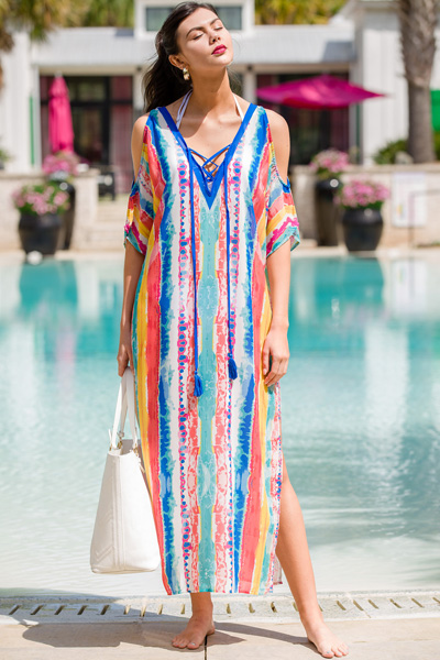 Watercolor Stripes Kaftan