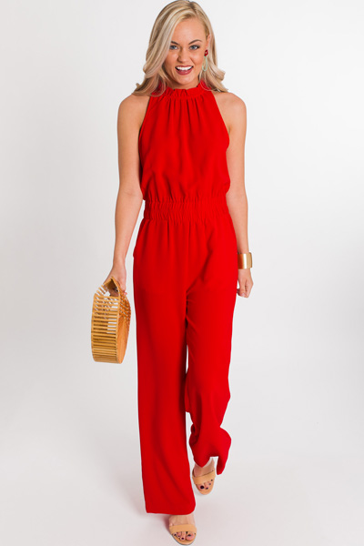 Up All Night Jumpsuit, Red