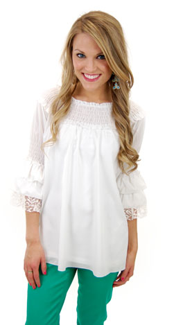 Joyful Noise Top, White