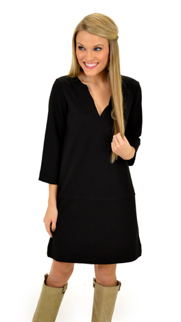 Ponte Box Dress, Black