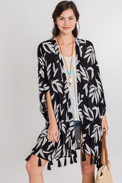 Kyla Tassel Kimono, Black Palms