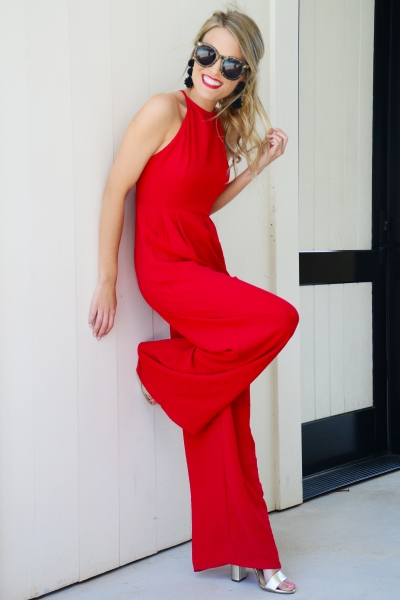 Rosebud Jumpsuit, Red