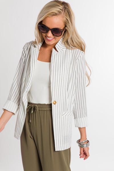 Summer Striped Blazer, Ivory