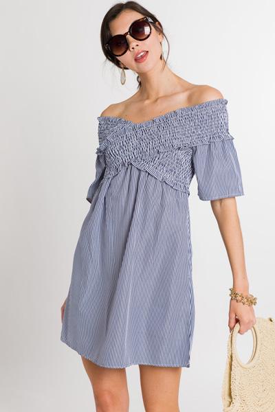 Smock Top Dress, Blue
