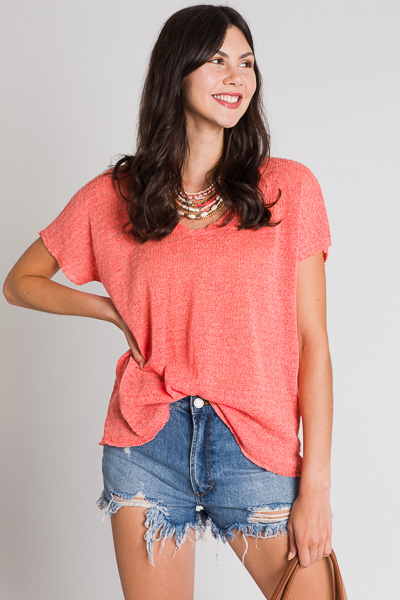 Sweater Knit Tee, Coral