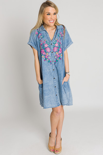 Embroidered Denim Shirt Dress