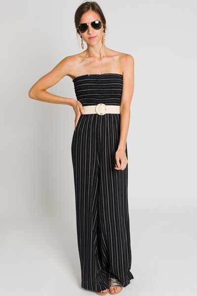 Black Stripe Tube Jumpsuit