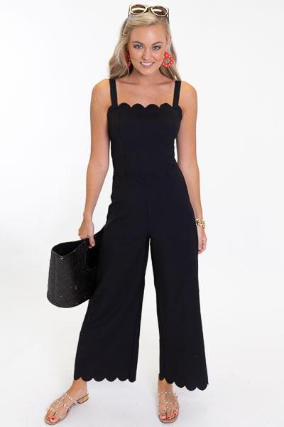 Scallop Trim Jumpsuit, Black