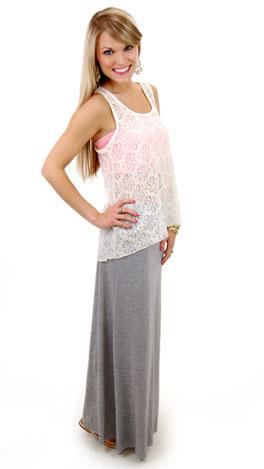 Solid Maxi Skirt, Gray