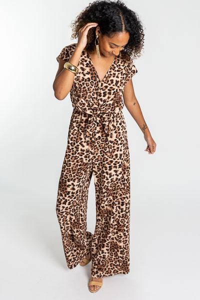 Knot Front Jumpsuit, Leopard